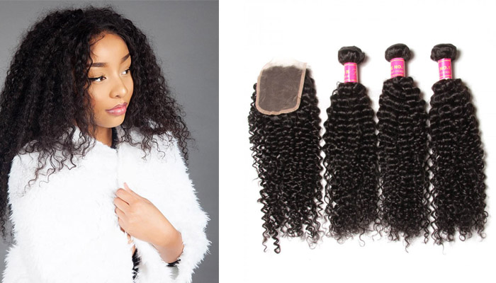 virgin curly hair 3 bundles with clsoure