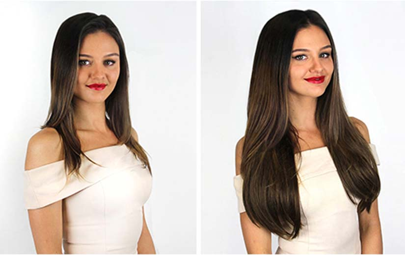 before and after while wearing hair extensions