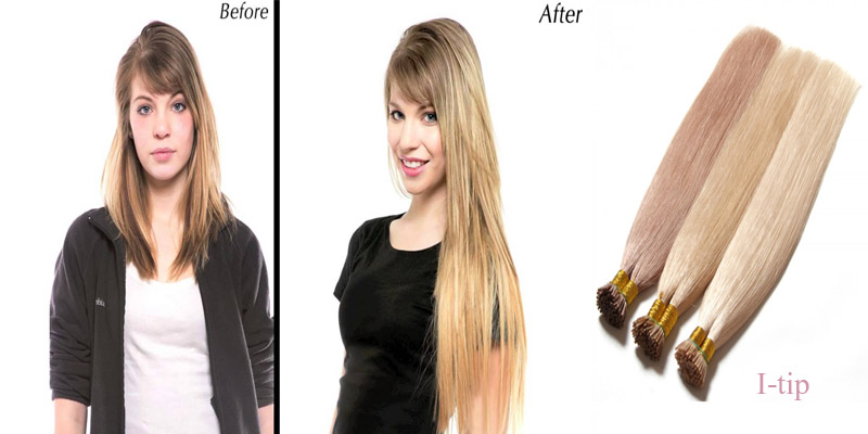 wear i-tip hair extensions before and after