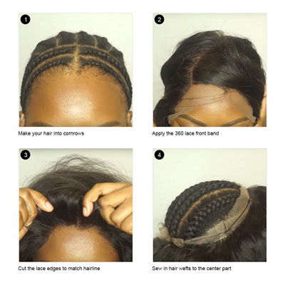 install 360 lace frontal steps