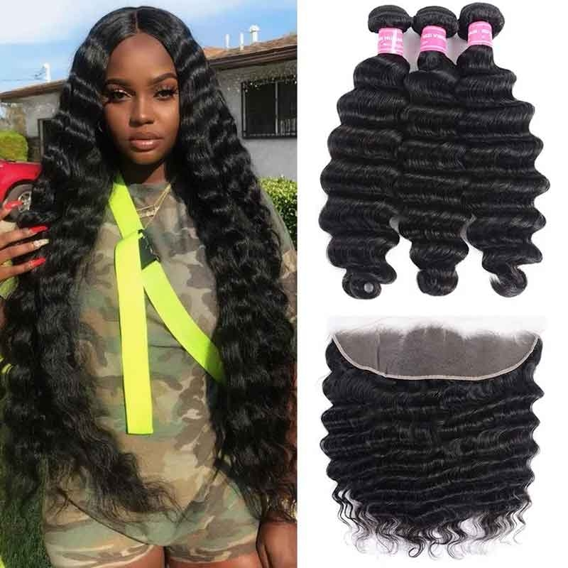 loose deep lace frontal with bundles