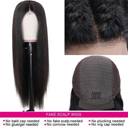 no cap fake scalp wig