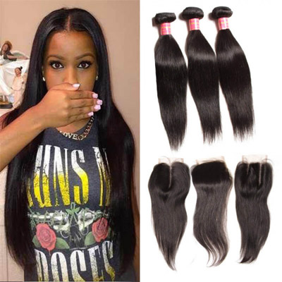 peruvian straight hair bundles with closure