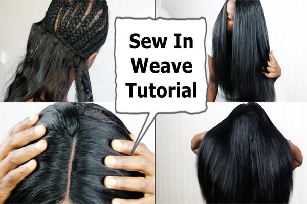 sew-in human hair weave tutorial