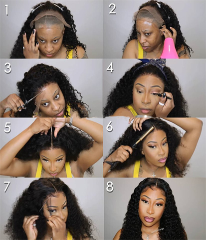 steps to install curly hair wig