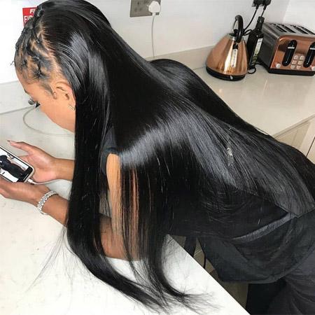 straight hair weave