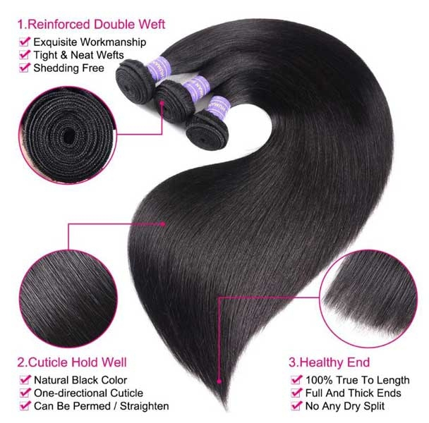 7A straight wave hair bundles