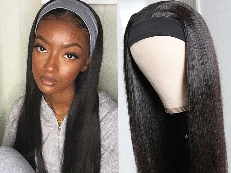 straight wave headband wigs