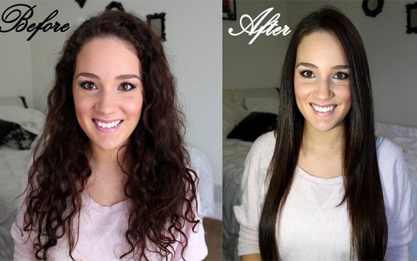 straighten hair before and after