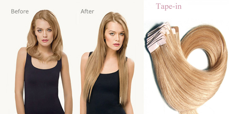 wear tape-in hair extensions before and after