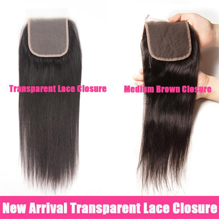 new in transparent lace closures