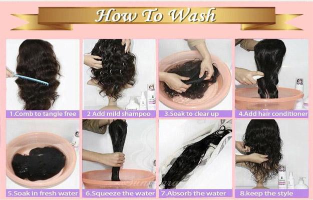 wash human hair wig steps