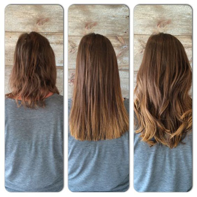 wear tape-in extensions before and after