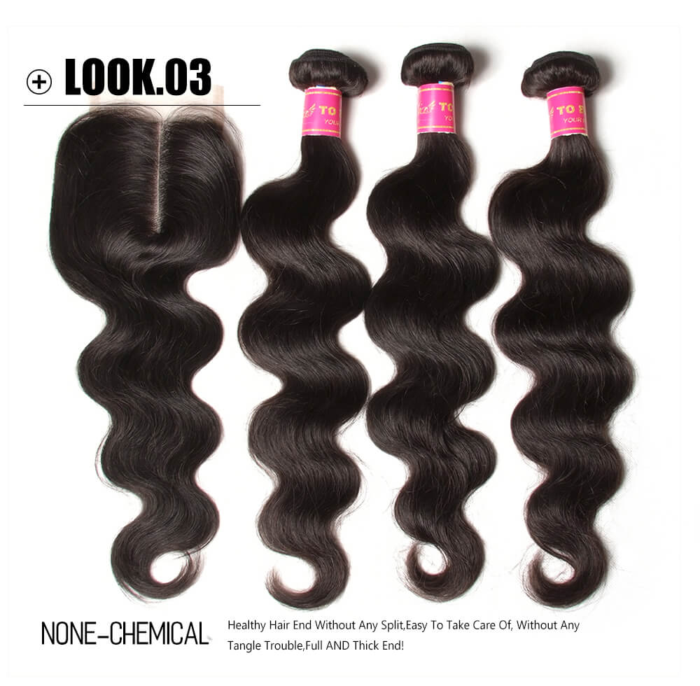 virgin human hair bundles with lace closure