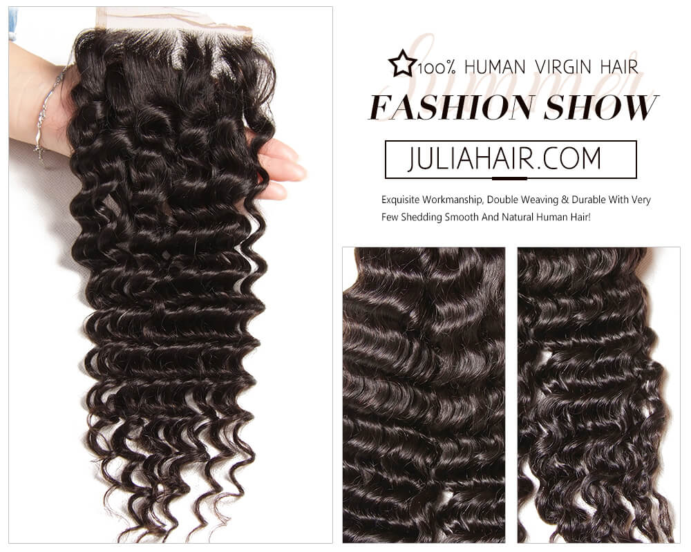 affordable virgin human deep wave hair with closure