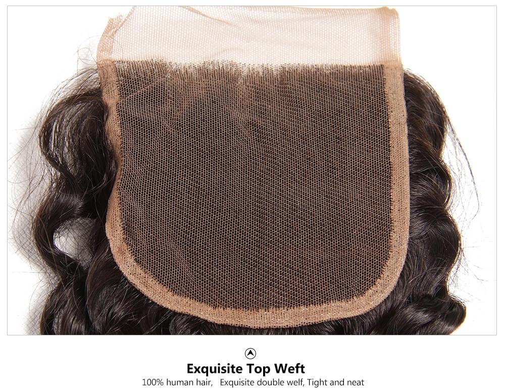 Brazilian deep wave human hair lace closure