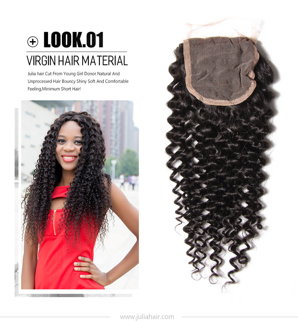 virgin curly human hair bundles with lace closure