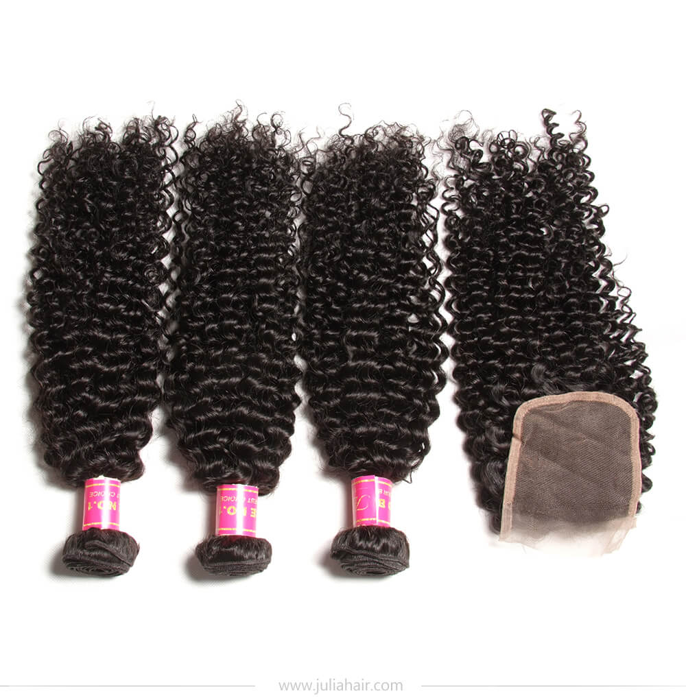 Brazilian virgin curly hair bundles with closure