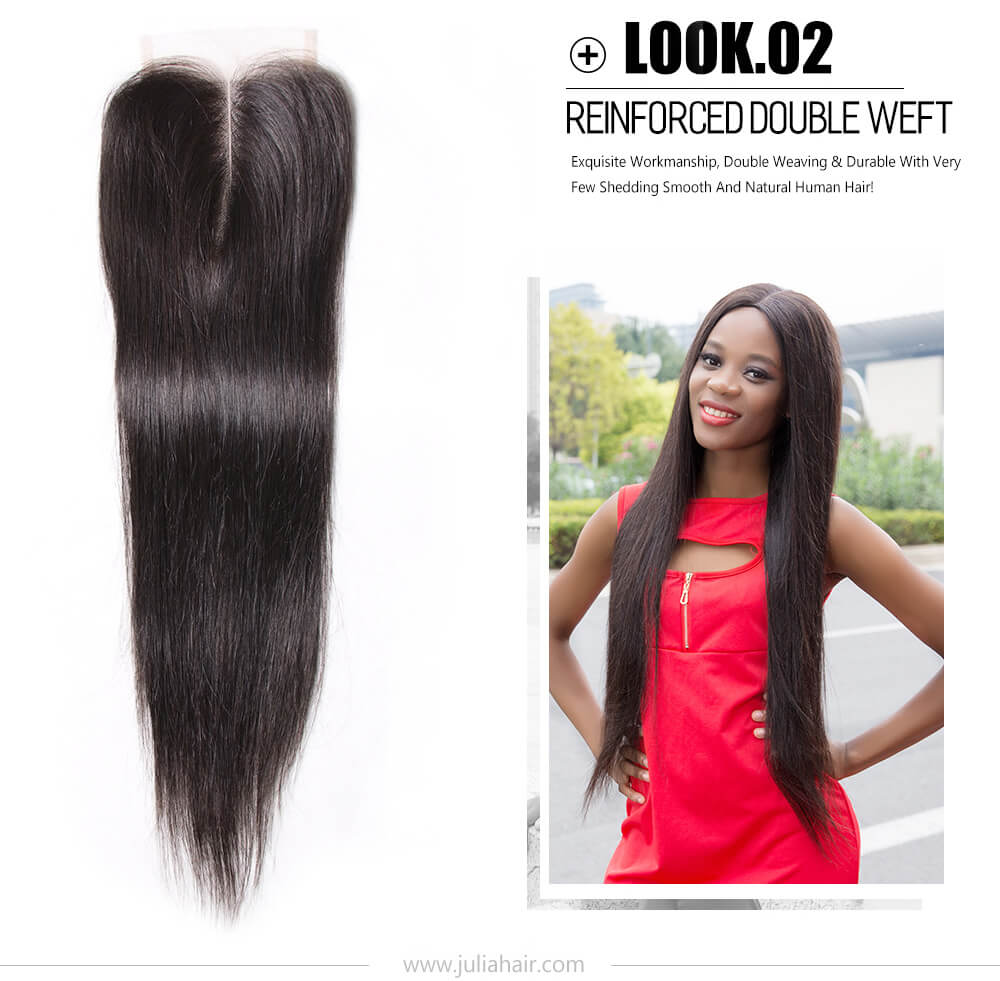 middle part lace closure straight