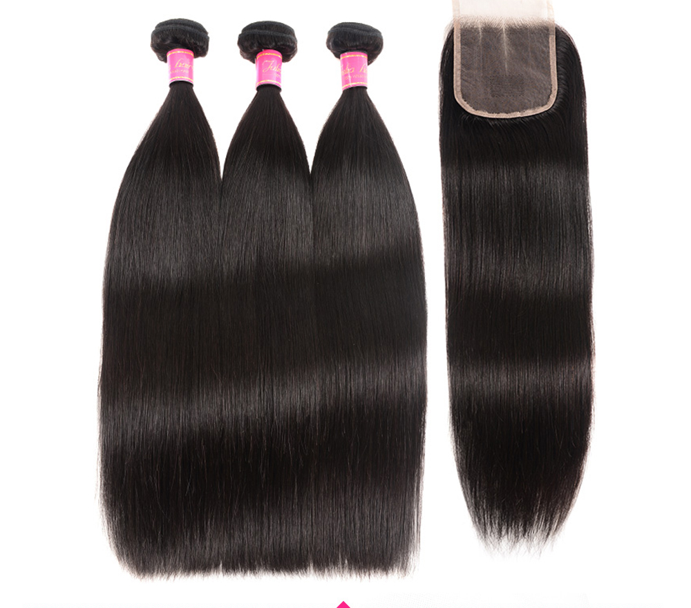 straight hair lace closure with bundles