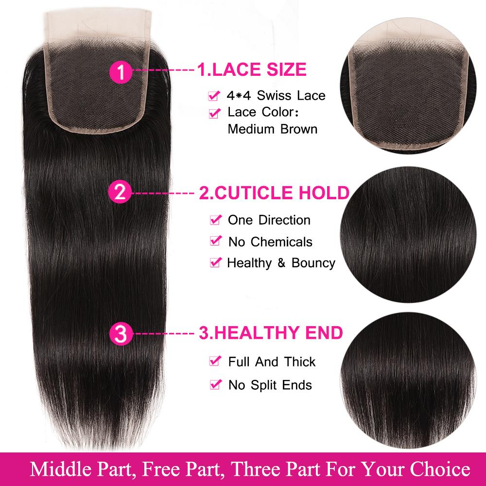 Peruvian straight  hair bundles with closure