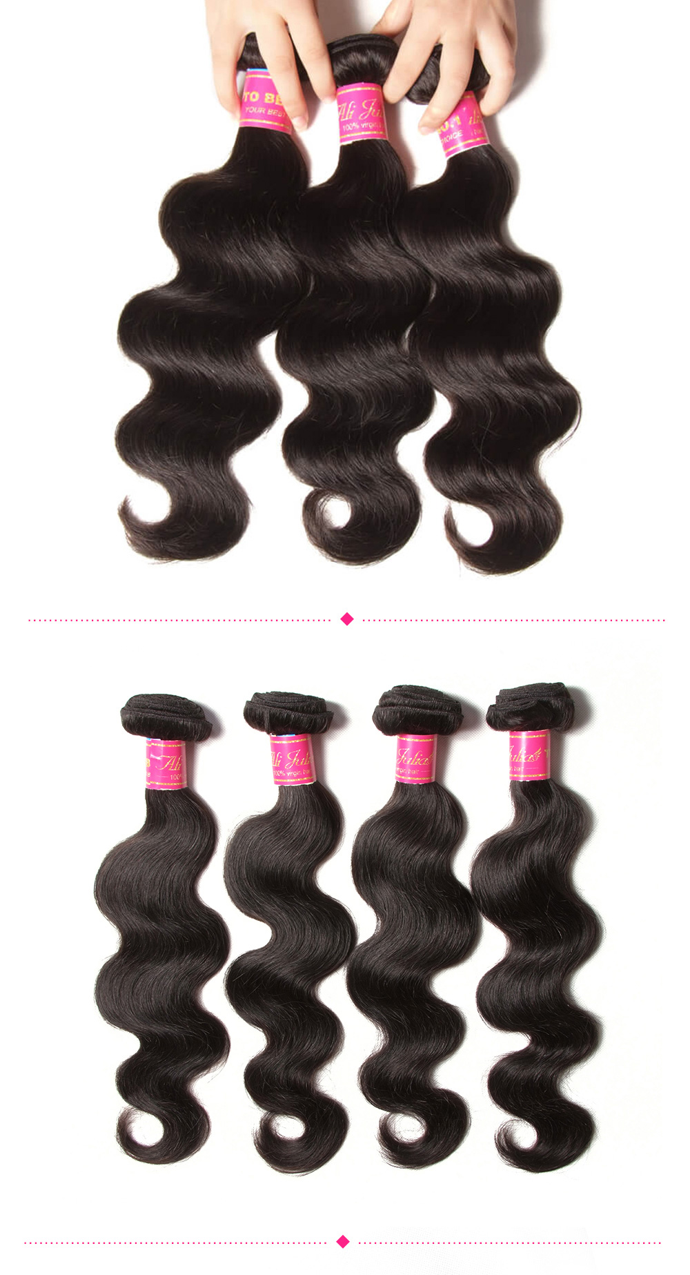 Virgin Brazilian body wave hair bundles with lace closure