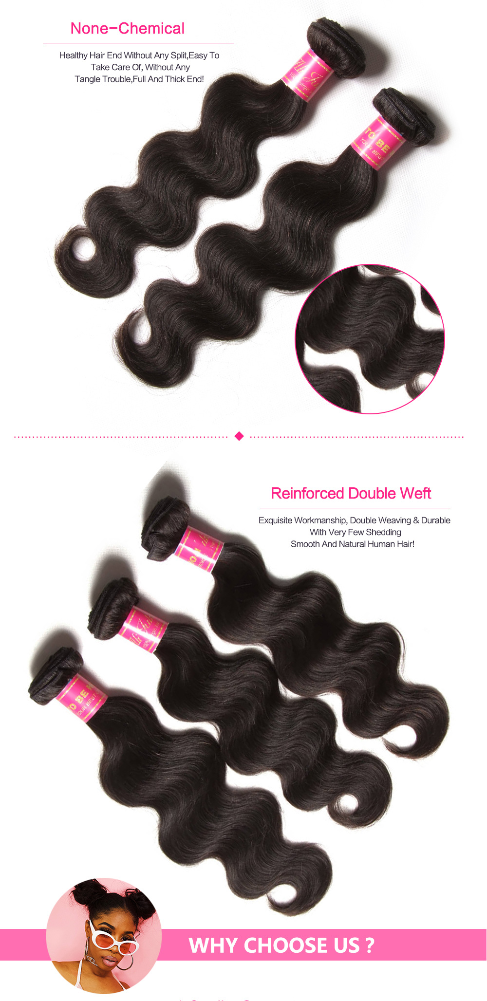 Quality Brazilian virgin body wave bundle deals with closure