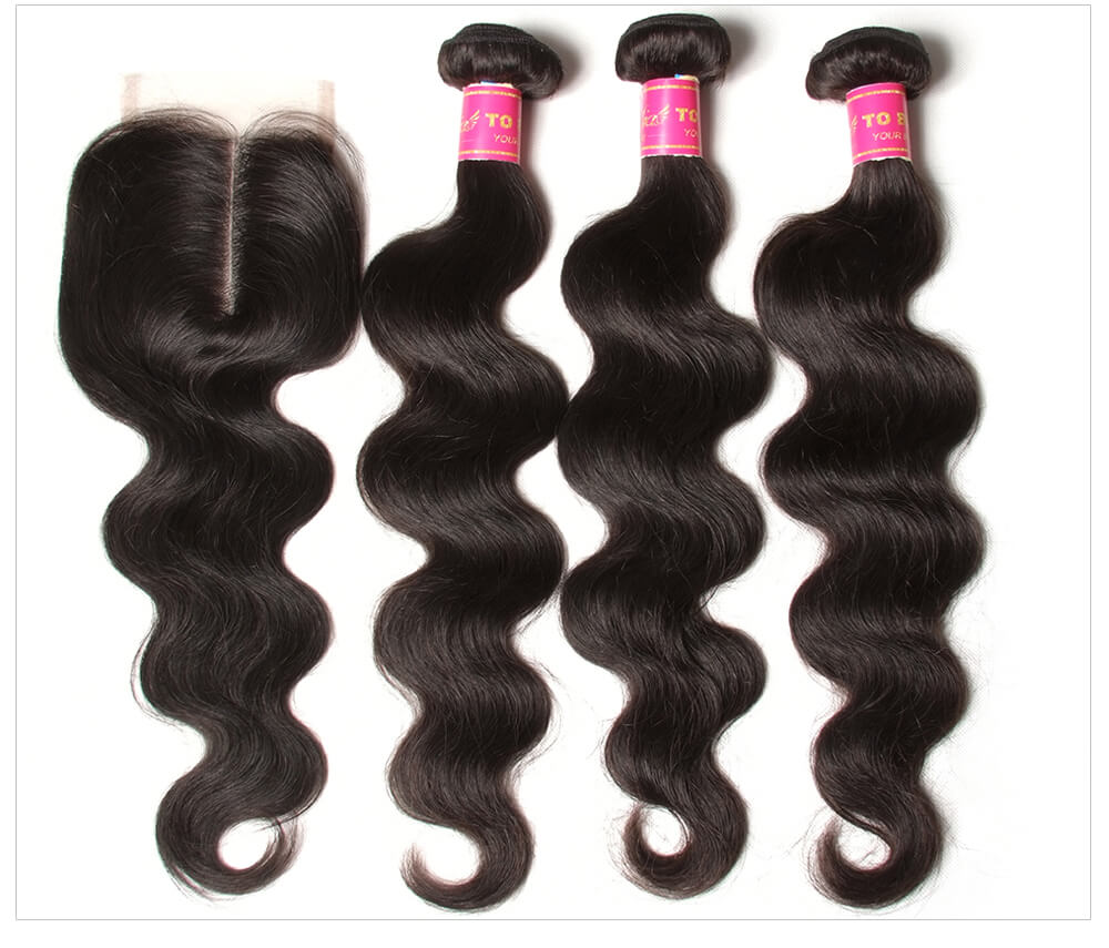 real Brazilian body wave hair bundles with lace closure