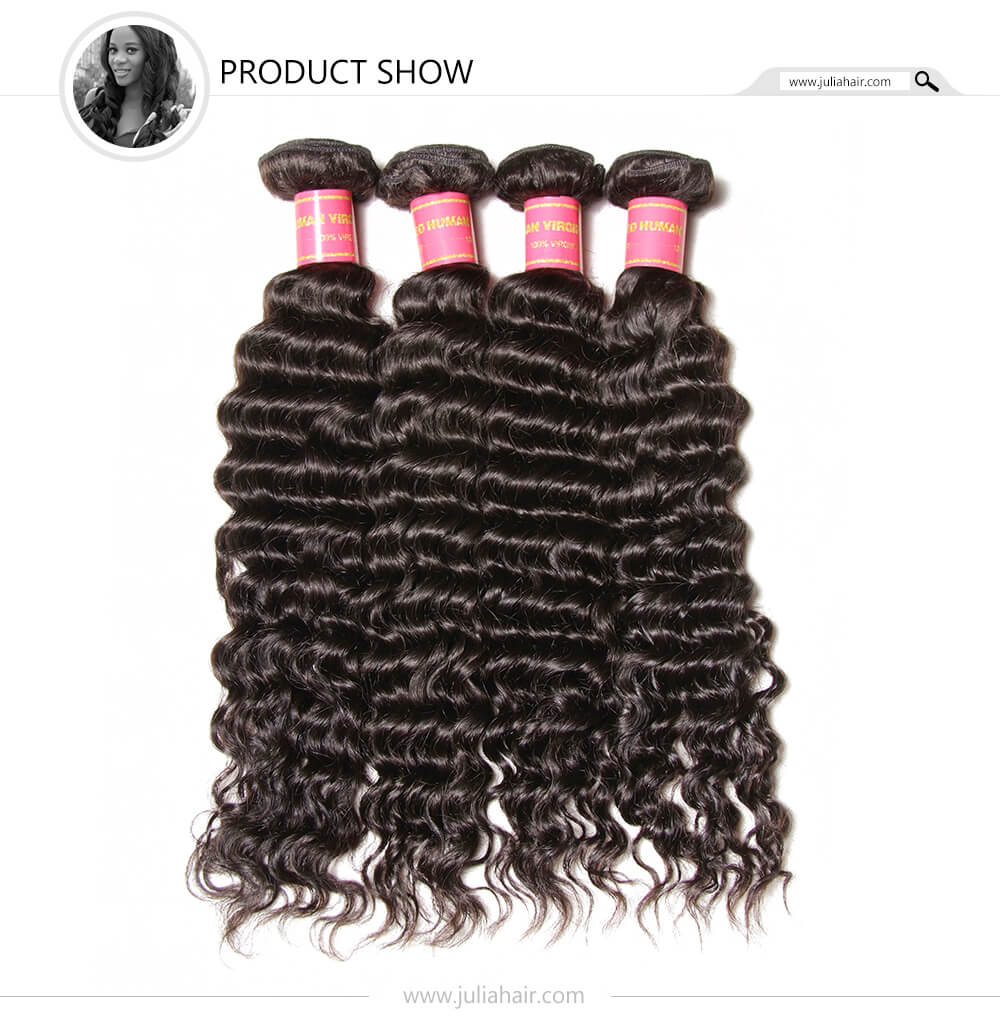 Julia Indian  Human Virgin Hair Deep Wave  4 Bundles