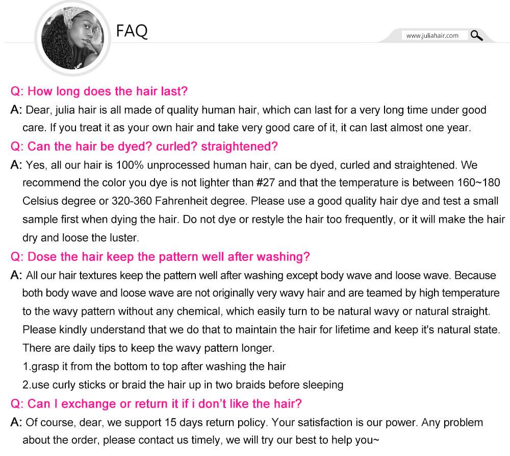julia hair commen FAQ