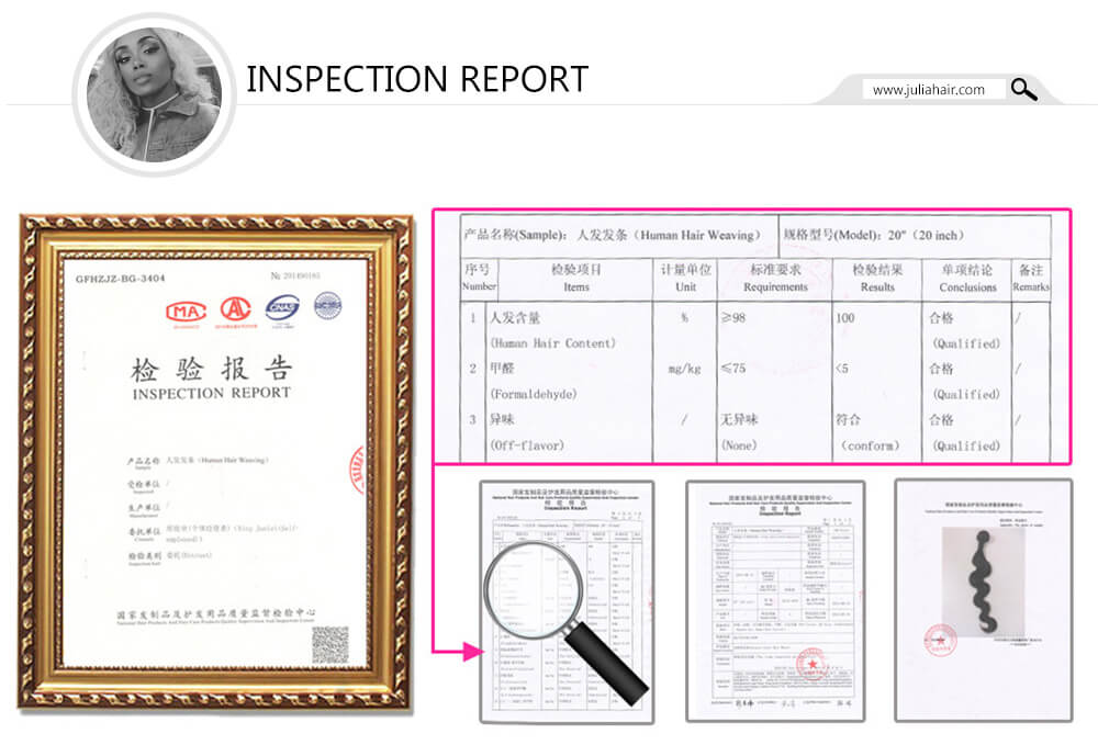 julia hair inspection certificate
