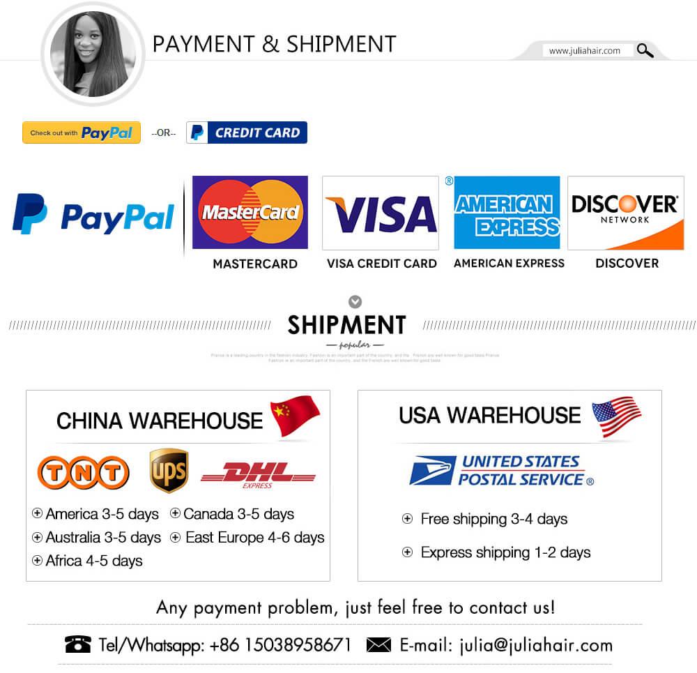 Julia Hair Payment Shipment