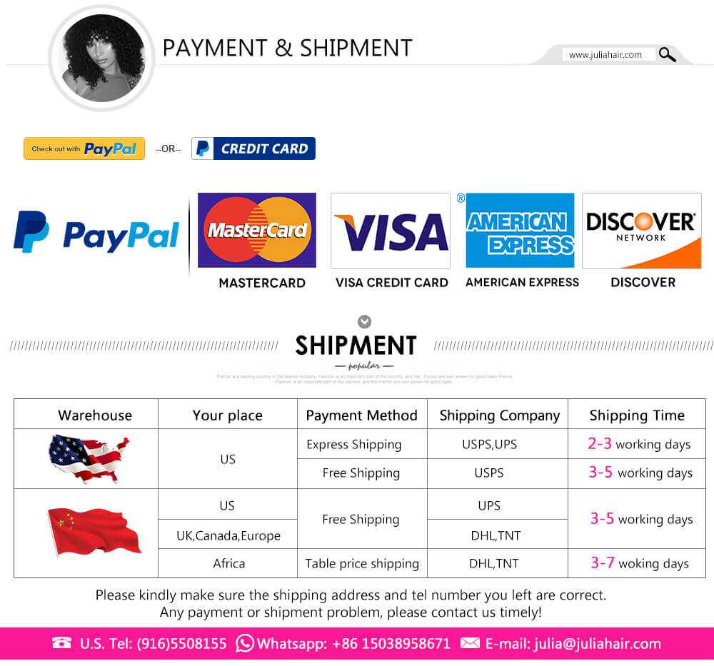 Julia various payment and shipment