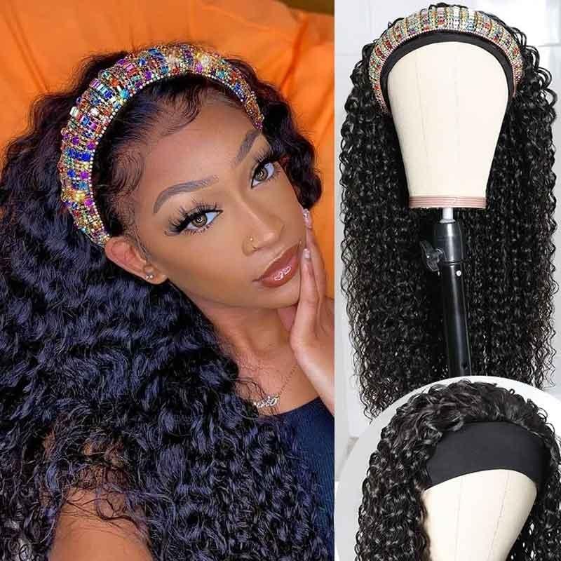 curly wave headband wigs