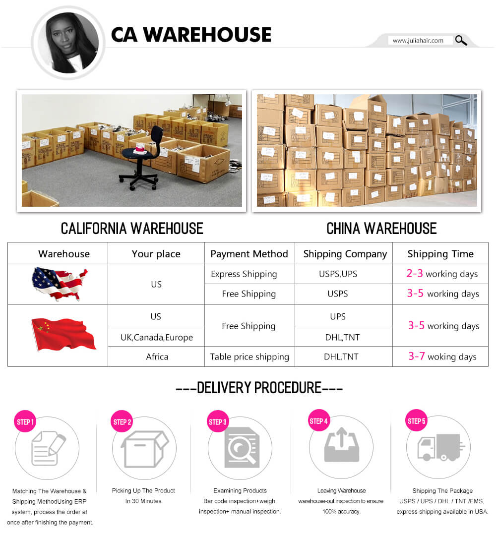 Julia Hair Warehouse Delivery Procedure
