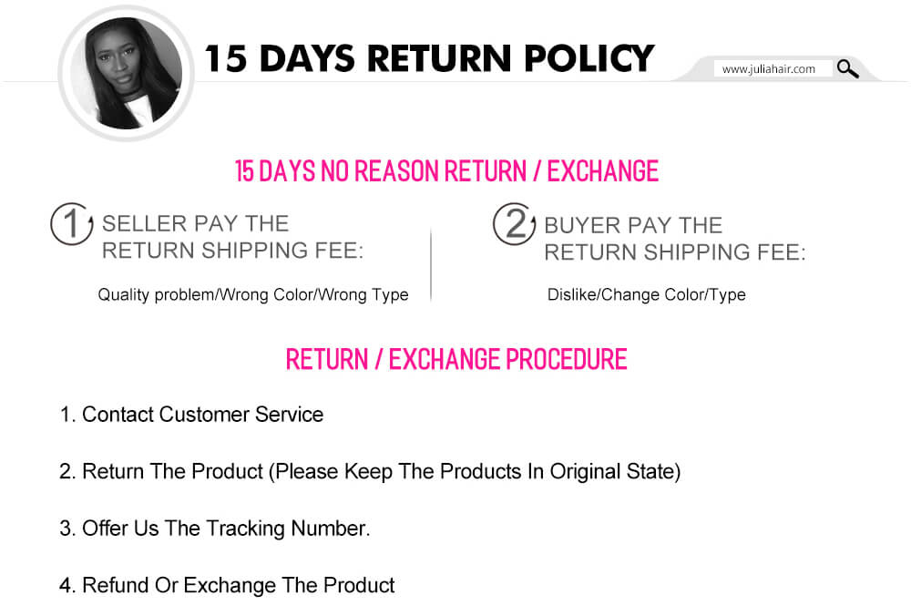 Julia Hair 15 Days Return Policy