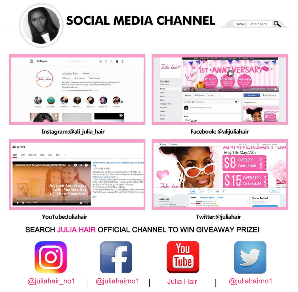 Follow Julia Hair Instagram or Facebook YouTube Twitter Channel