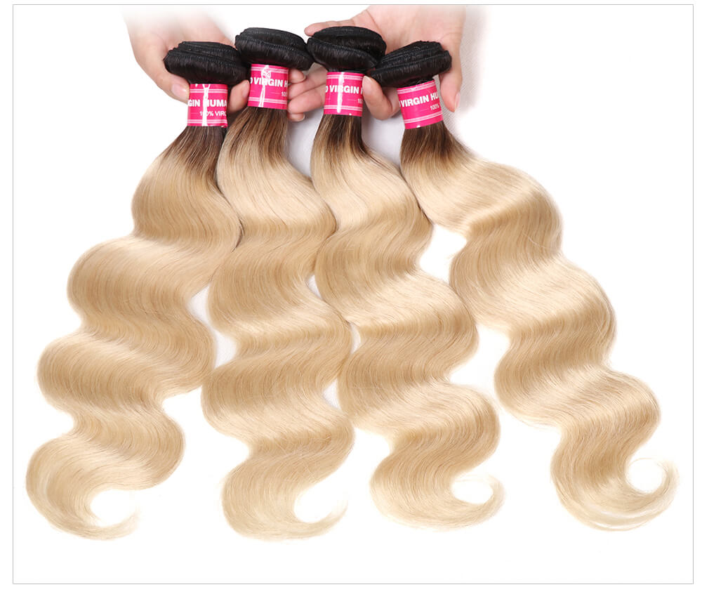 100% Pure Real Human Hair Blond Bundles