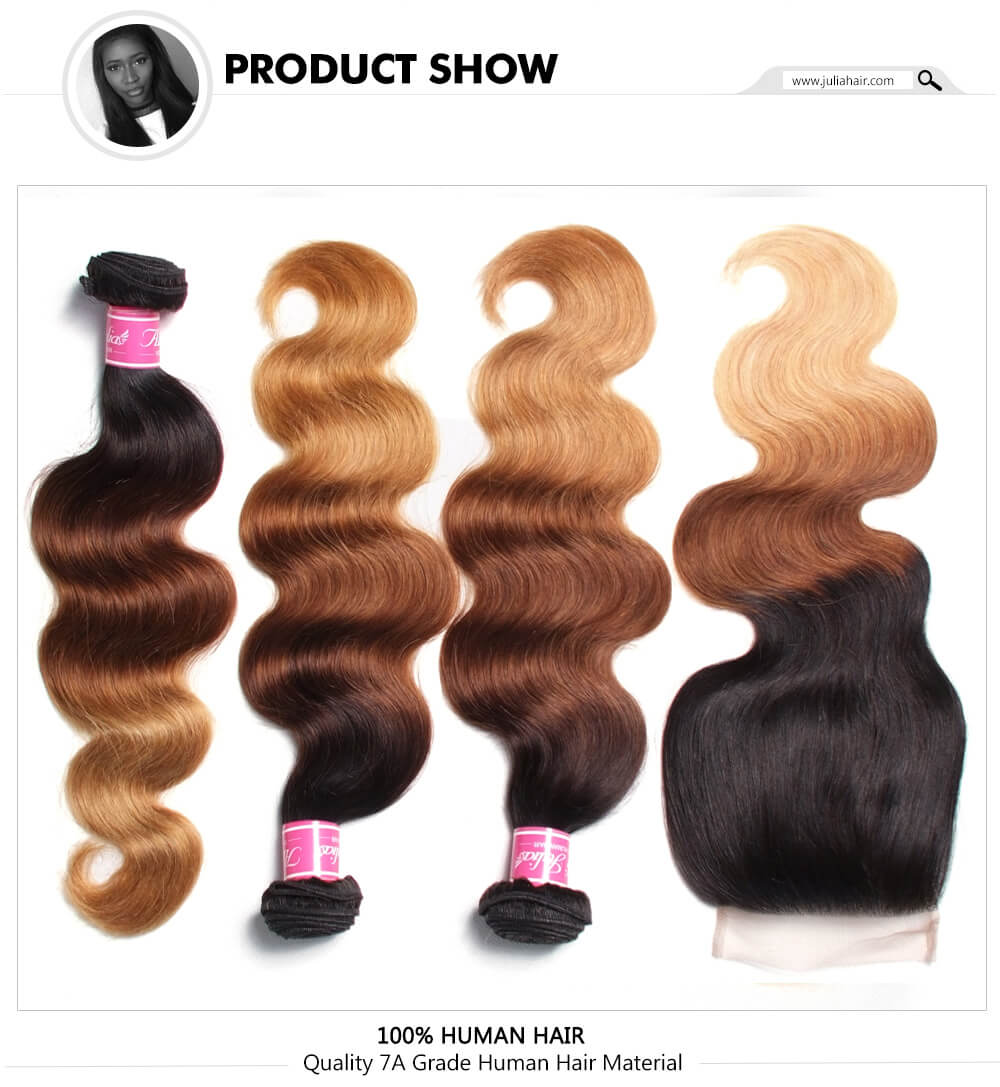 T1B427 Ombre Body Wave Bundles With Closure