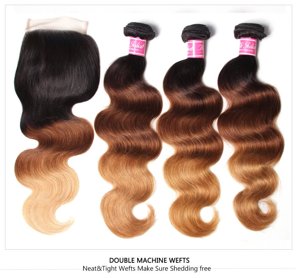 Cheap Ombre Human Hair Weaves With Closure
