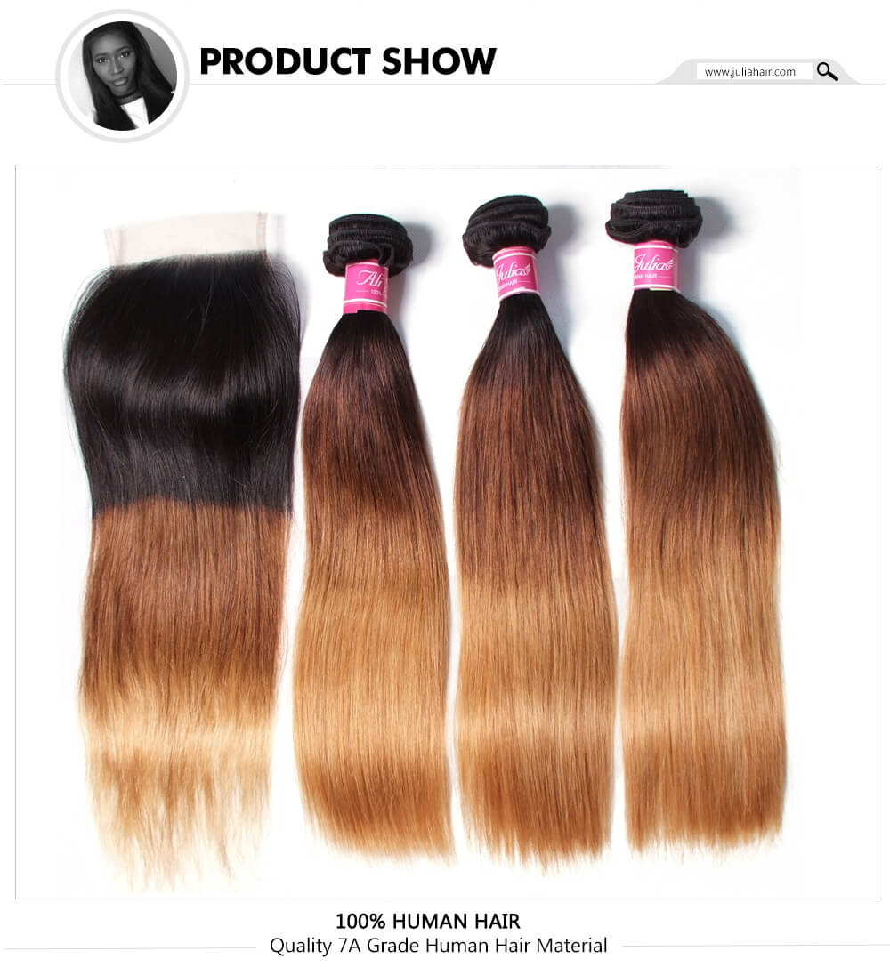 T1B427 Ombre Straight Hair Bundles With Closure