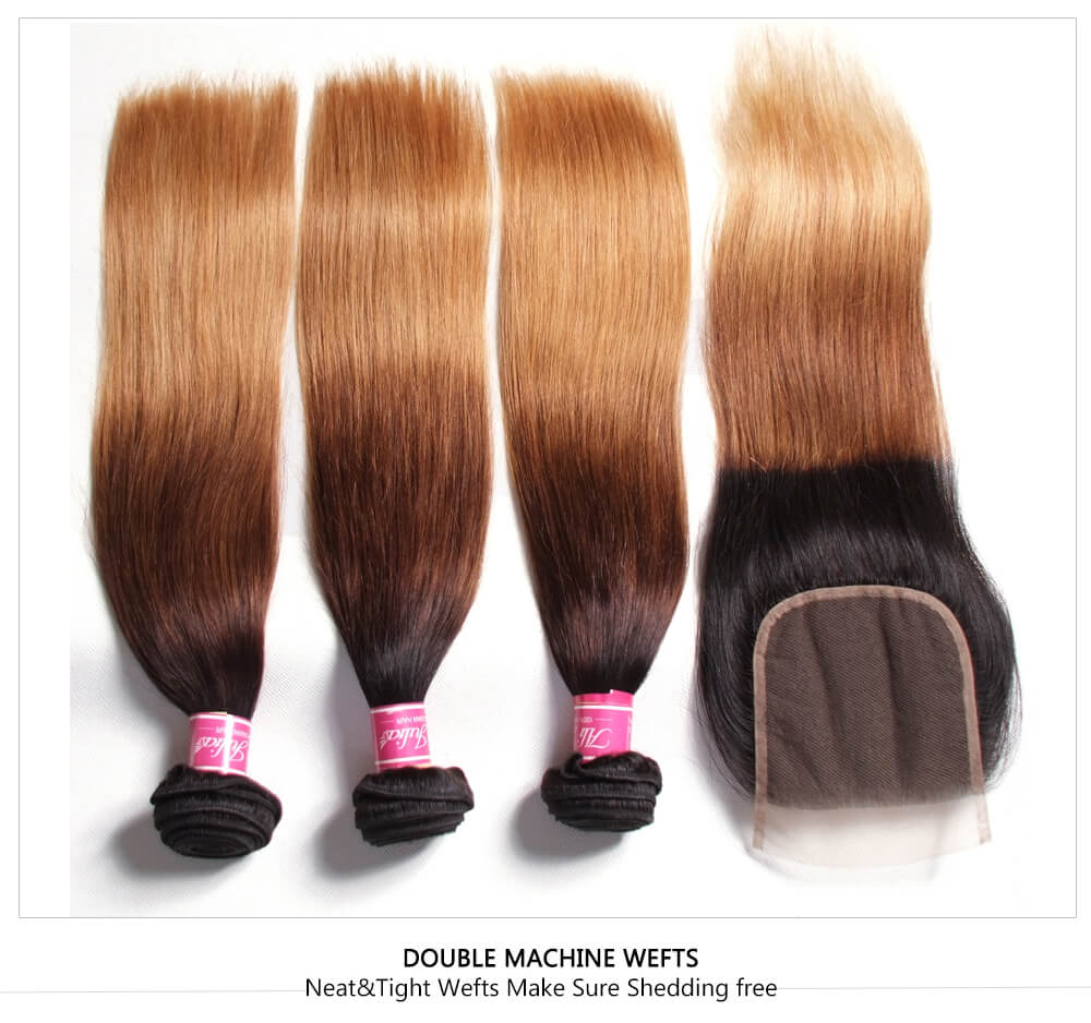 Affordable Ombre Human Hair Weaves With Closure
