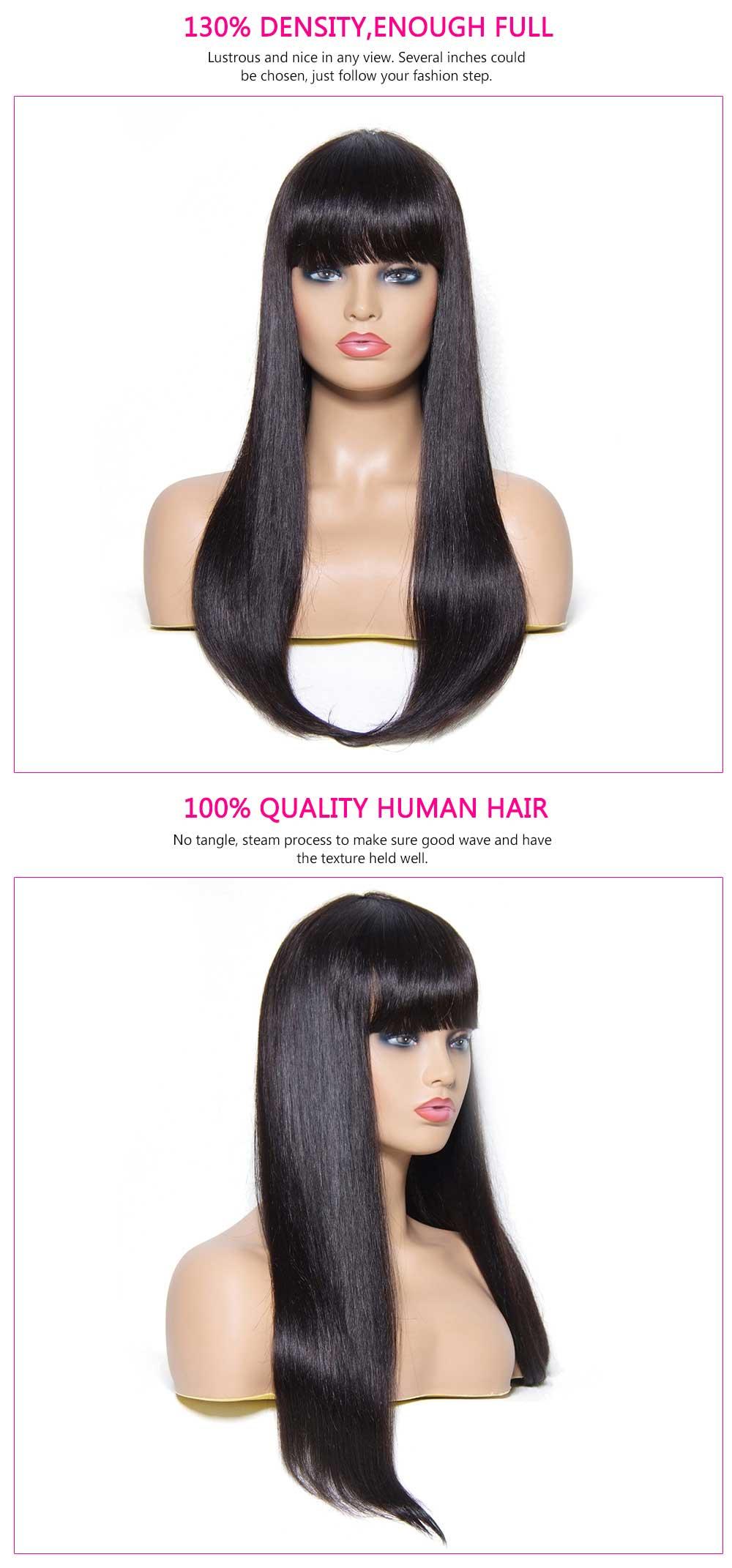Long Brazilian Straight Human Hair Wig With Bang