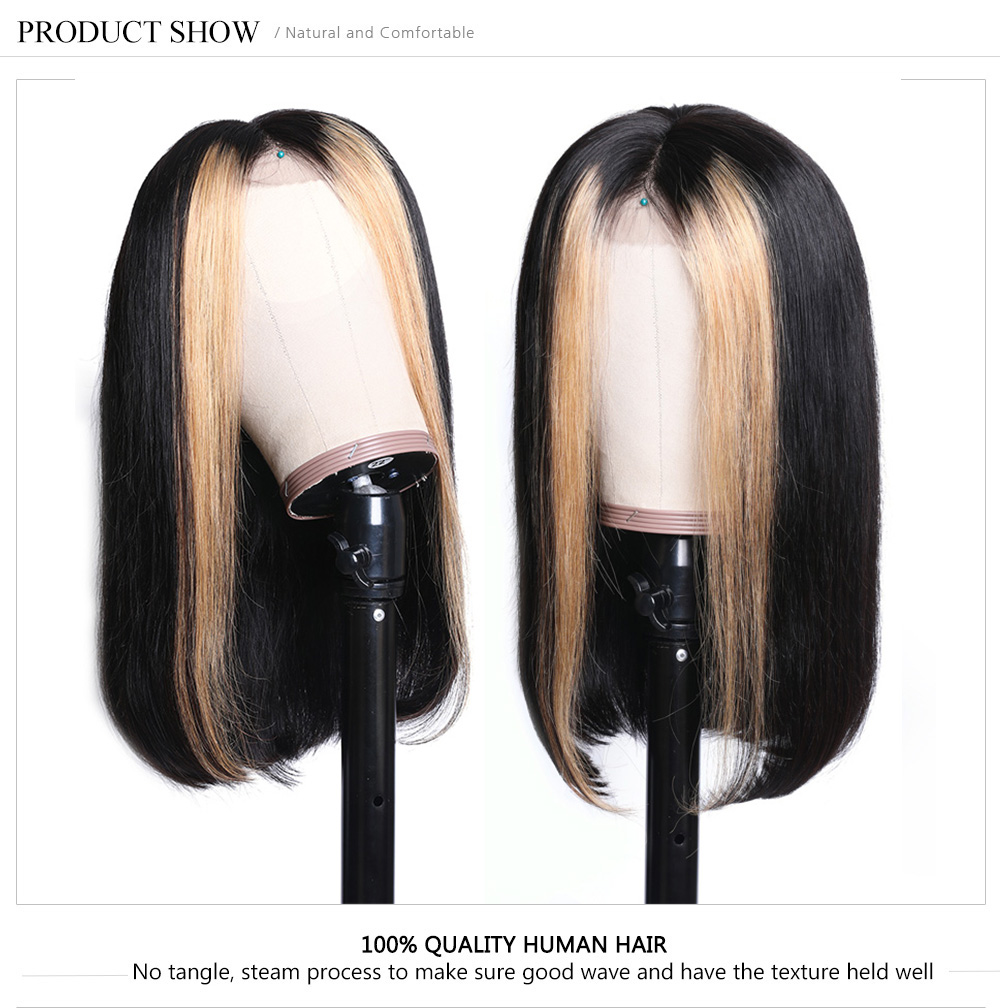 Highlight Straight Human Hair Bob Wigs