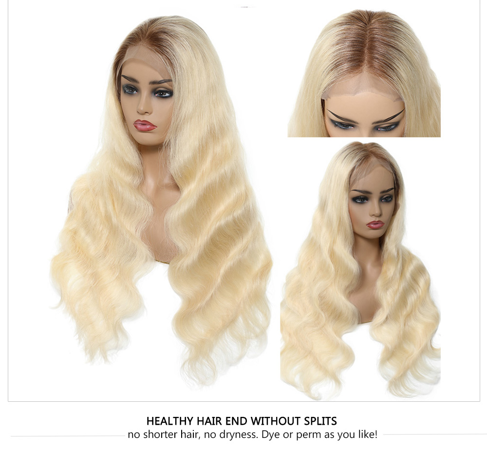 Ombre 613 Body Wave Hair Wigs With Dark Root