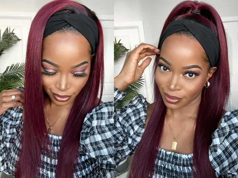 ombre burgundy headband wigs