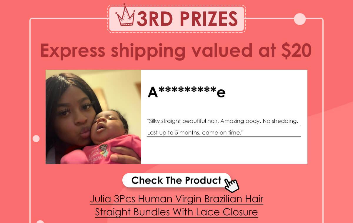 Julia 3Pcs Human Virgin Brazilian Hair Straight Bundles With Lace Closure