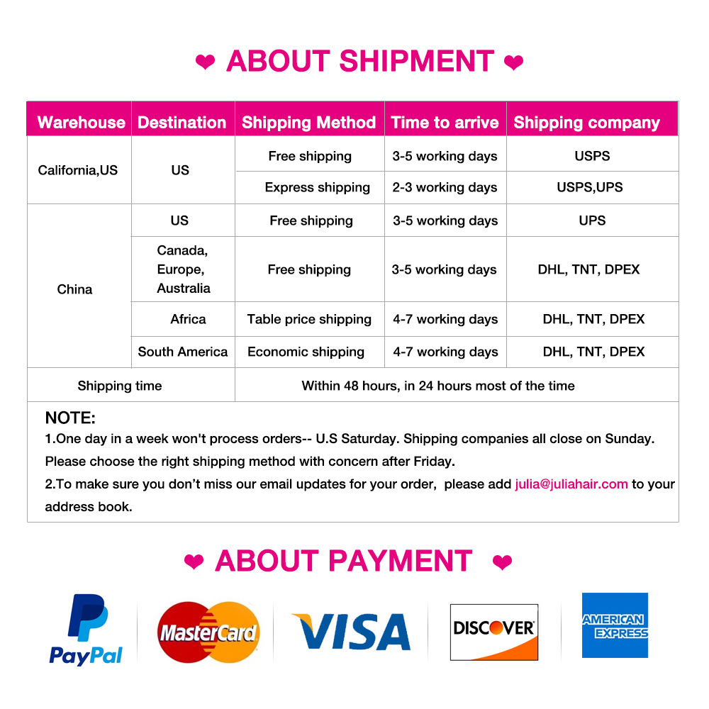 Julia Hair Shipping & Payment
