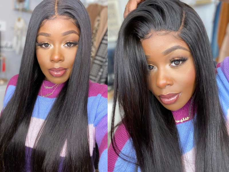 straight wave lace part wig